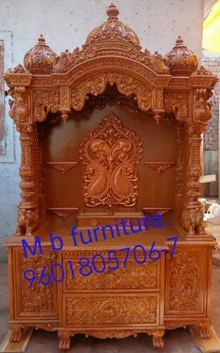 Teak Wood Handcrafted Antique Design Temple