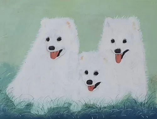 Silk Handmade Animal Painting, Size: 28x36 Inch