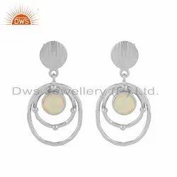 Circle Design 925 Sterling Silver Ethiopian Opal Gemstone Earrings