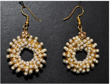 Circular Artificial Pearl Earrings