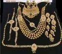 Gold Plating Golden Kundan Bridal Jewelry Sets