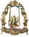 Brass Ganesha Statue Jhula God Idol Religious