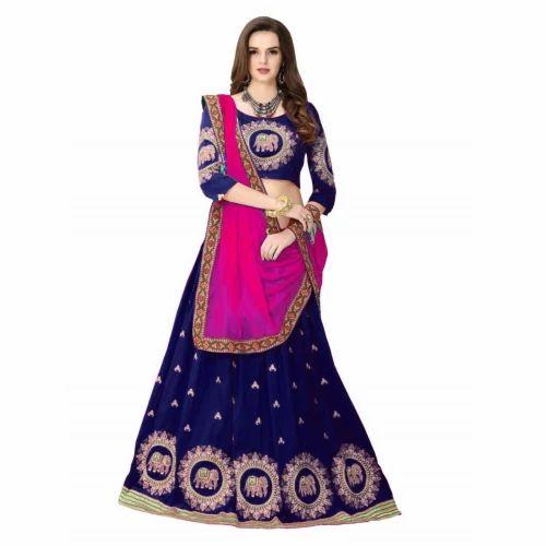 d741b5dc2d Banglori Silk Navy Blue Semi-Stitched Lehenga Choli, Rs 799 /piece ...