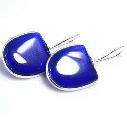 Silver Blue Glass Earrings