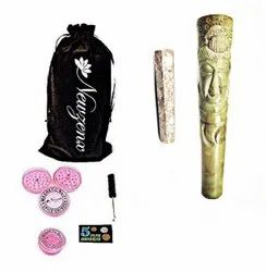 Stone Carved Crafted Chillum 6 Inch Included 1 Herb Crusher, Fancy Velvet Pouch & Accessories
