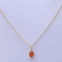 14k Solid Gold Jewelry Natural Carnelian Gemstone Chain Pendant
