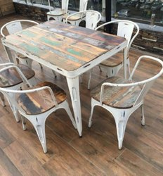 Rajtai Shree Wood 6 Seater High Antique Designed Dining Table Set with 6 Chairs