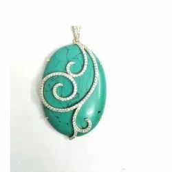 Natural Turquoise Gemstone 18k Gold Diamond Pendent