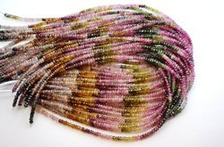 15 Inch 3-3.5mm 100% Natural Lustrous Multi Tourmaline Faceted Rondelle Beads