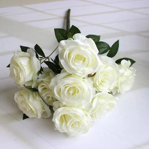 DecoratingLives Artificial Flowers White 9 Heads