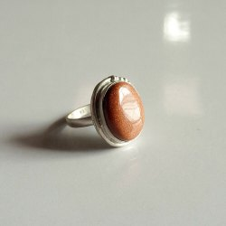 Sunstone Gemstone Silver Ring