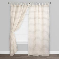 White Polyester Striped Window Curtain