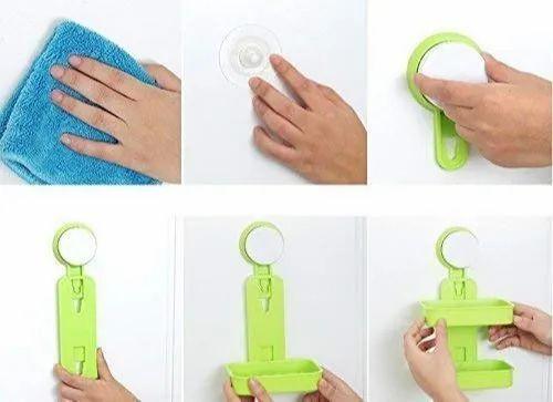 Plastic Multicolor Double Layer Soap Box Holder, Shape: Square
