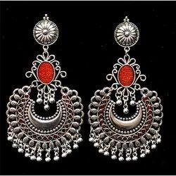 Oxidized Orange Stone Earrings