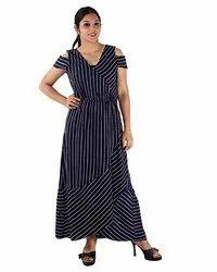 Crepe Women Blue Stripe Wrap Dress