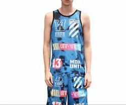 Blue and White Printed Basketball Dress