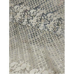 White Embroidered Fancy Net Fabric, Use: Saree