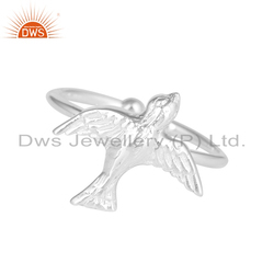 Handmade 925 Sterling Fine Silver Adjustable Bird Charms Rings