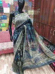 Hand Block Printed Chanderi Silk Saree