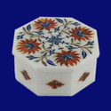 Handmade Pietra Dura Inlay Floral Design White Marble Box