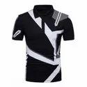 Striped Geometric Print Polo Collar T-shirt