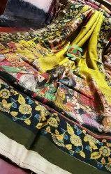 Silk Digital Print on Munga Saree With Blouse Piece