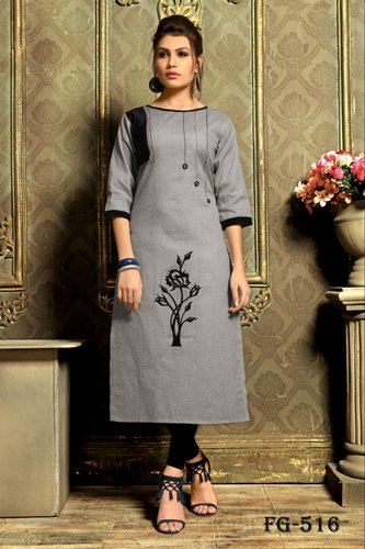 9b59a52b81bd00 Khadi Cotton Printed Ready Made Straight Kurti