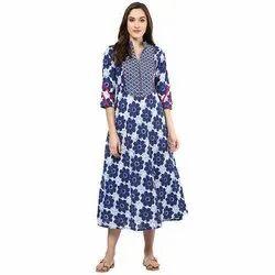 Ladies Blue Printed Kurtis
