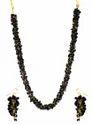 Black Stone Uncut Chips Necklace Set With Bracelet & Earings