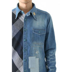 Full Sleeves Checkered Denim Shirt, Size: S - XL
