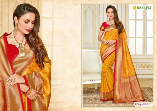 39064c9fcdd0af Rajguru Rosy Yellow Pure Silk Fancy Party Wear Saree