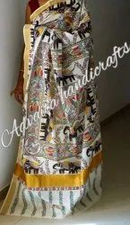 Party Wear Border Hand Painted Sarees On Cotton And Silk