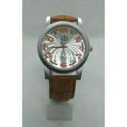 Round Leather Strap Mens Wrist Watch