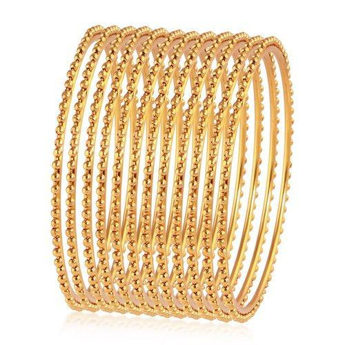 4863104e301c6 Sukkhi Glimmery Gold Plated Bangles For Women Set Of 12