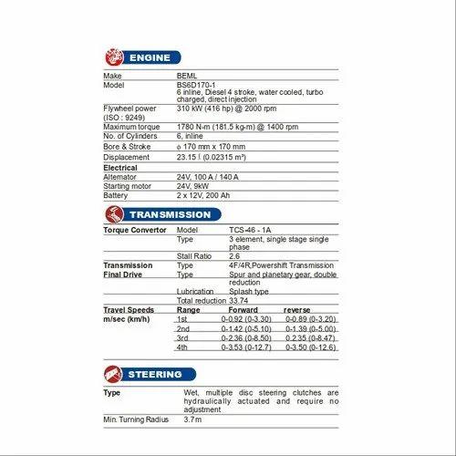 New BEML BD355 44470 KG Crawler Dozers, BEML Limited   ID