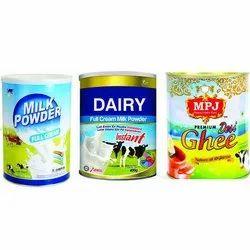 Tin Milk Container, 4 - 6 Inch(diameter), Capacity: 400 G