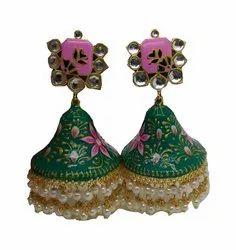 Hand Painted Jhumka Earrings