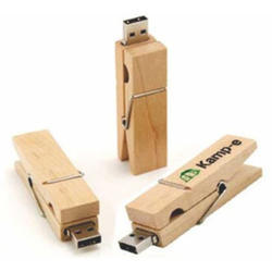 Wooden Clip On Pen Drive