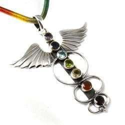 Wings Design 925 Sterling Silver Chakra Pendant