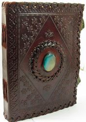 Vintage Leather Stone Leather Journal,  Handmade Leather Diaries, Handmade Paper Journals