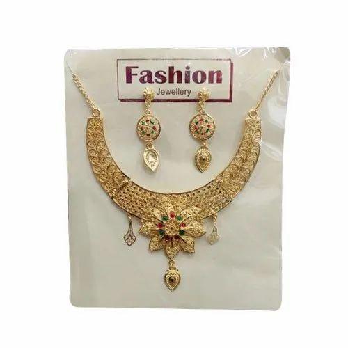 Crystal Ornament Brass Fancy Imitation Necklace Set