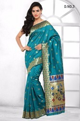 Sea Green Art Silk Sarees