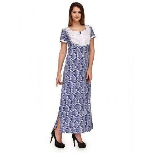 c8ce72f6b8 Cotton Printed Kurunji Ladies Printed Over Locked Nighty(premium ...