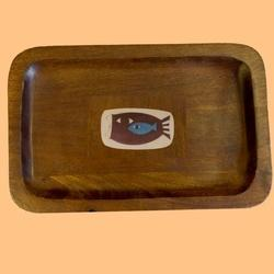 Wood Tray With Bone Inlay