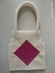 Natural / Pink Diamond Fully Beaded Hand Bag, India