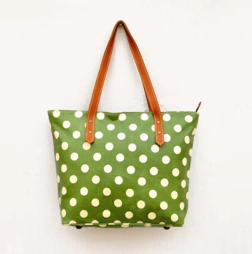 Laminated Cotton Polka Dot Tote Bag