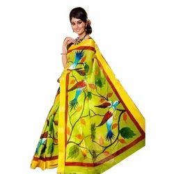 Yellow Floral Print Floral Printed Cotton Saree, 5.5 M (separate Blouse Piece)
