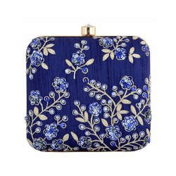 Blue Flowers Finest Artwork Design Handmade with Delightful Artwork Work Clutch