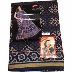 Ladies Printed Chanderi Ajrakh Print Saree with Blouse Piece