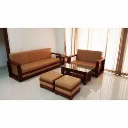 Brown Modern Wooden Designer Sofa Set